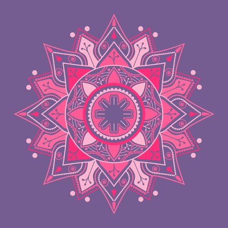 Pink mandala pattern on purple background Illustration