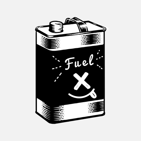 Black and white fuel canister vector