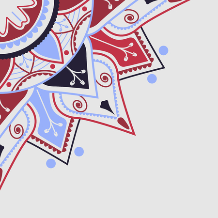 Red and blue mandala pattern on white background