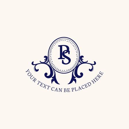 Vintage style baroque badge vector Stockfoto - 118068998
