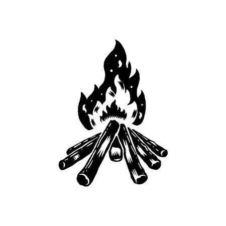 Schwarzer Camping wilder Lagerfeuervektor