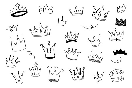 Various crowns doodle illustration vector