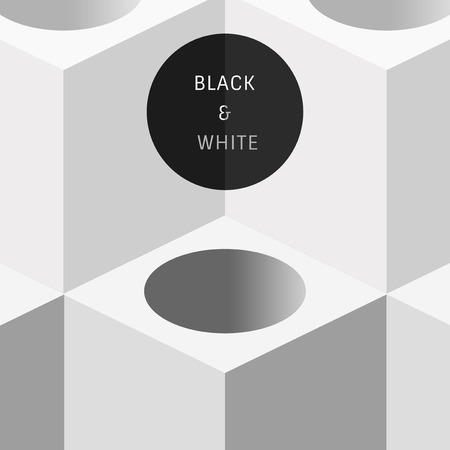 Black and white cubic background vector Illustration