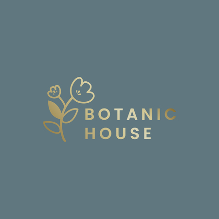 Botanical house flower badge vector Illustration