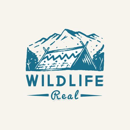 Real wildlife camping logo vector