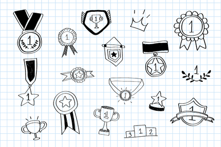 First place winner doodles collection vector