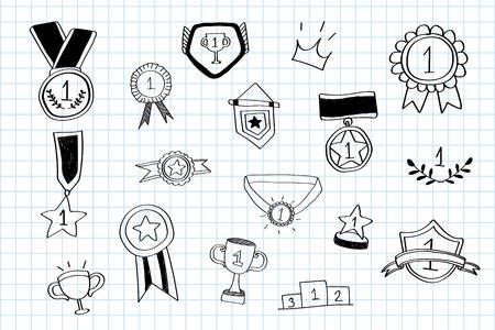 Wektor kolekcji doodles zwycięzcy pierwszego miejsca Ilustracje wektorowe