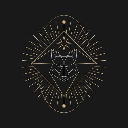 Geometric fox mystic symbol vector Çizim