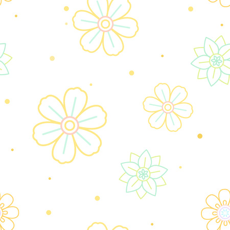 Yellow, green, and blue flower pattern with a white background vector
