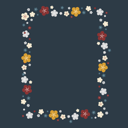 Rectangle colorful floral border vector