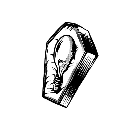 Light bulb in the coffin vector