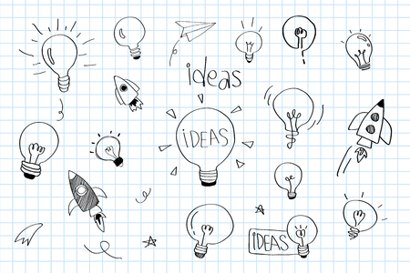 Creativity ideas light bulbs doodle collection vector Foto de archivo - 124774337