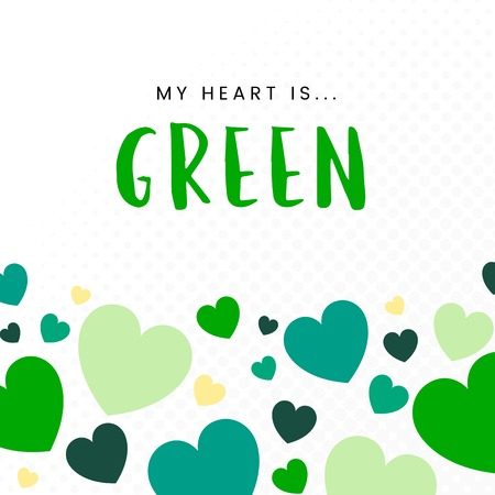 My heart is green background vector