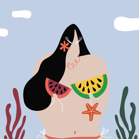 Woman with watermelons at the beach vector