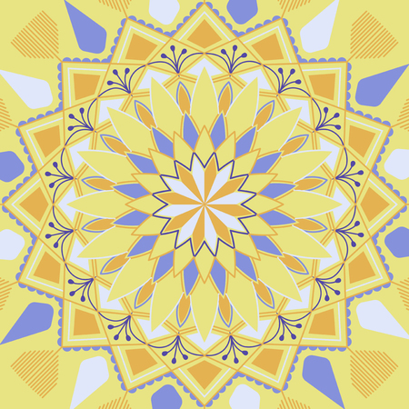 Yellow and blue mandala pattern on white background