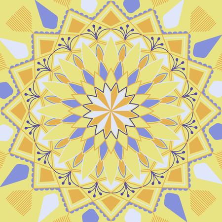 Yellow and blue mandala pattern on white background