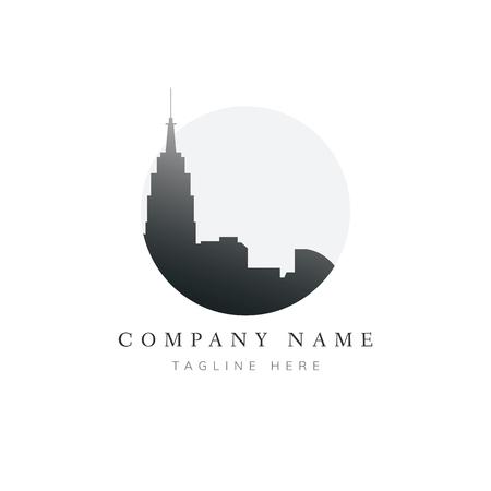 Ilustracja logo marki budynku sylwetka