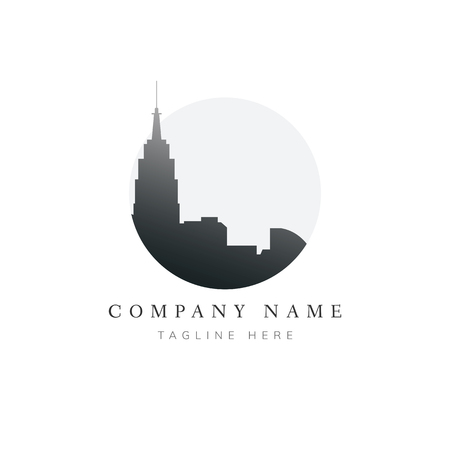 Silhouette building brand name logo illustration