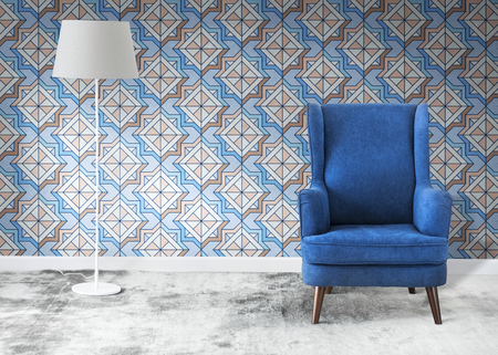 Wingback blue chair in a room mockup Stock Photo