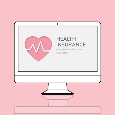 Health insurance on computer illustration Zdjęcie Seryjne - 118447353