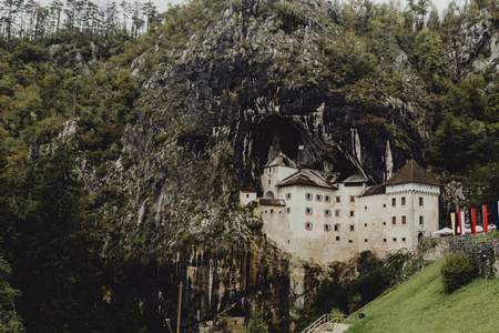 Predjama castle mountainside in Slovenia