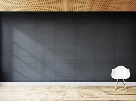 Sedia bianca contro un modello di muro grigio Archivio Fotografico