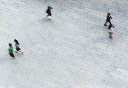 Aerial shot of people walking on the ground 스톡 콘텐츠