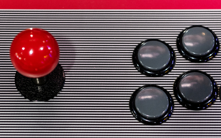 Arcade game joystick and buttons