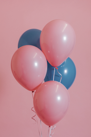 Pink and blue balloons for a birthday party