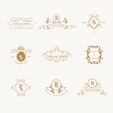 Conjunto de diseño de insignia barroca vintage Ilustración de vector