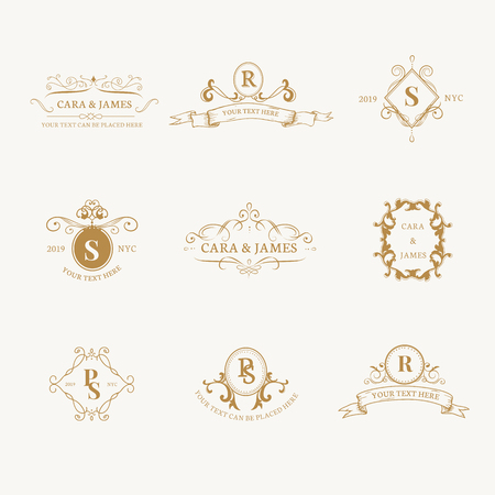 Vintage baroque badge design set Vector Illustration