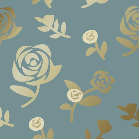 Gold botanical pattern background vector  イラスト・ベクター素材