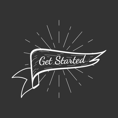 Banner with a text get started vector