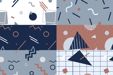 Memphis patterned backgrounds vector set