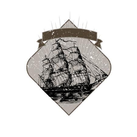 Sailing ship illustration badge vector