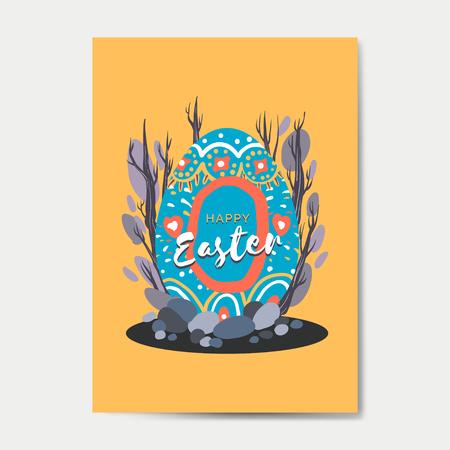 Easter eggs hunt festival greeting card vector