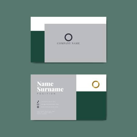 Monotone business card template mockup vector Archivio Fotografico - 118544246