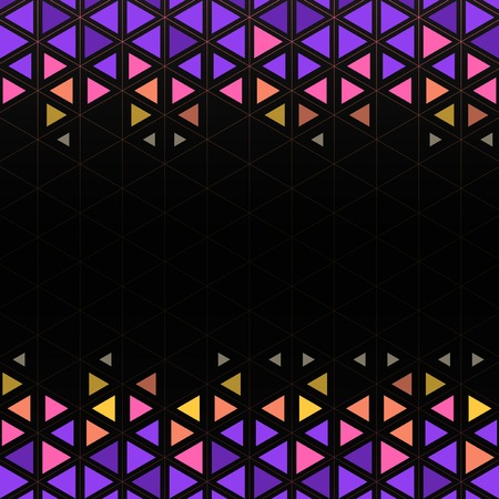 Colorful triangle patterned on black background Illustration