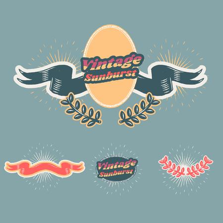 Old school vintage sunburst ribbon banner vectors collection Ilustracja