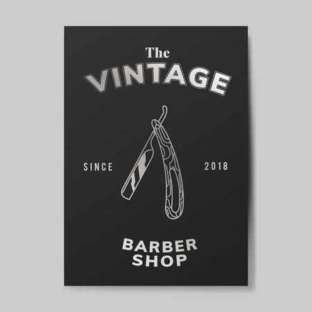 Vintage barber shop card vector