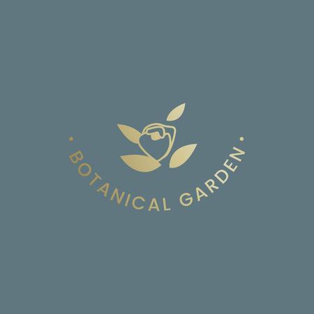 Botanical garden rose badge vector