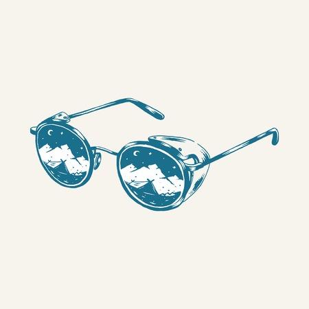 Vintage camping glasses design vector