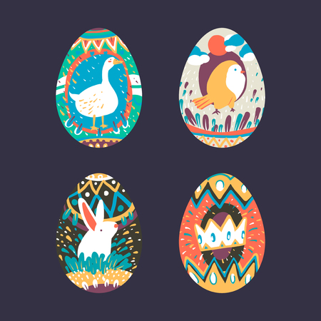 Easter festival painted eggs collection vector