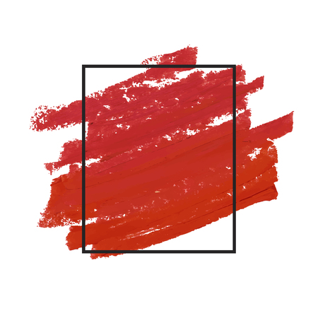 Red brush stroke badge vector