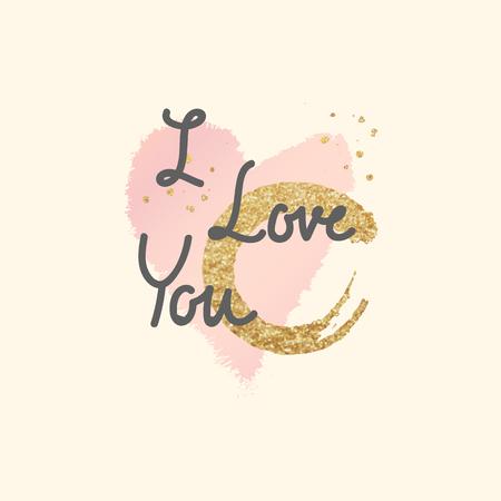 Diseño de palabra de San Valentín de tipografía en el fondo Ilustración de vector