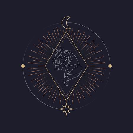 Vecteur de symbole mystique de licorne géométrique