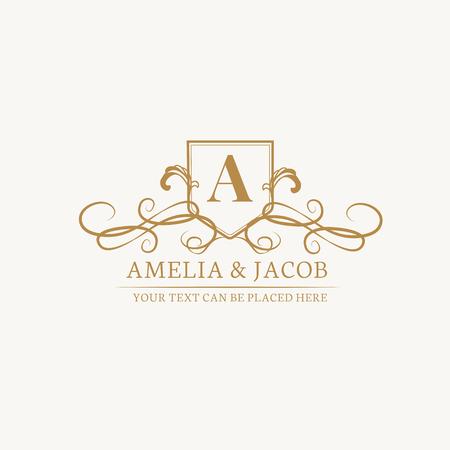 Vintage baroque wedding invitation design Ilustracja