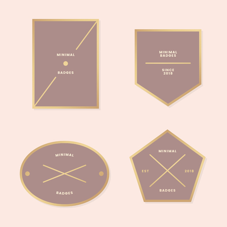 Simple golden logos and labels vector set