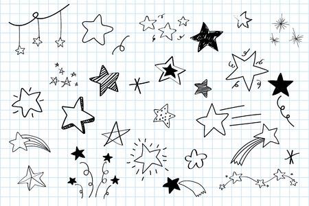 Varie stelle doodle vettore di raccolta