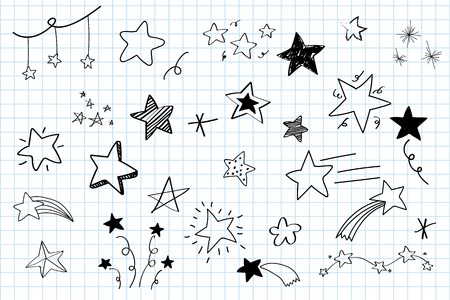 Various stars doodle collection vector Imagens - 124609852